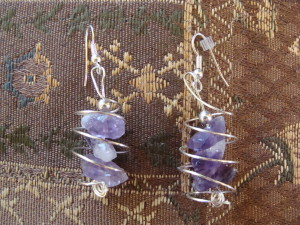 amethyst swirl earrings